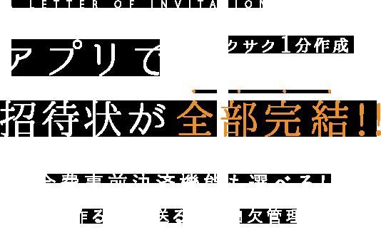 招待状がサクサク1分作成!アプリで全部完結!!